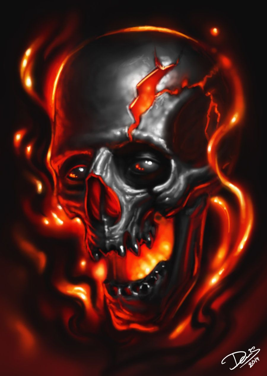 Flaming Skull By Disse86
