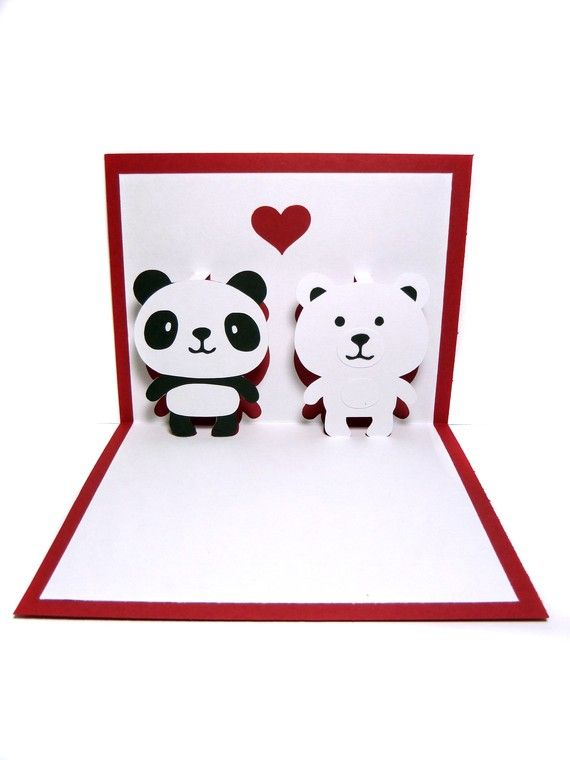 Panda And Polar Bear In Love Pop Up Card By Cookiebits On Etsy 5 85 Pop Up Card Templates Panda Card Polar Bear Card