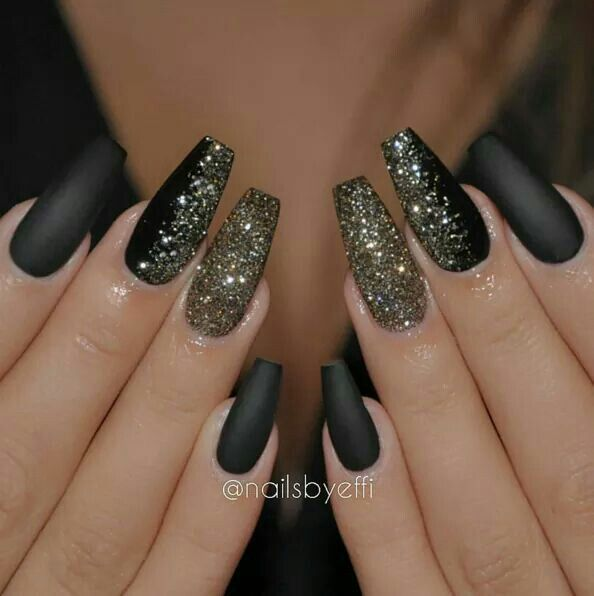 awesome Black matte nail polish with gold glitter accents... | Nail ...