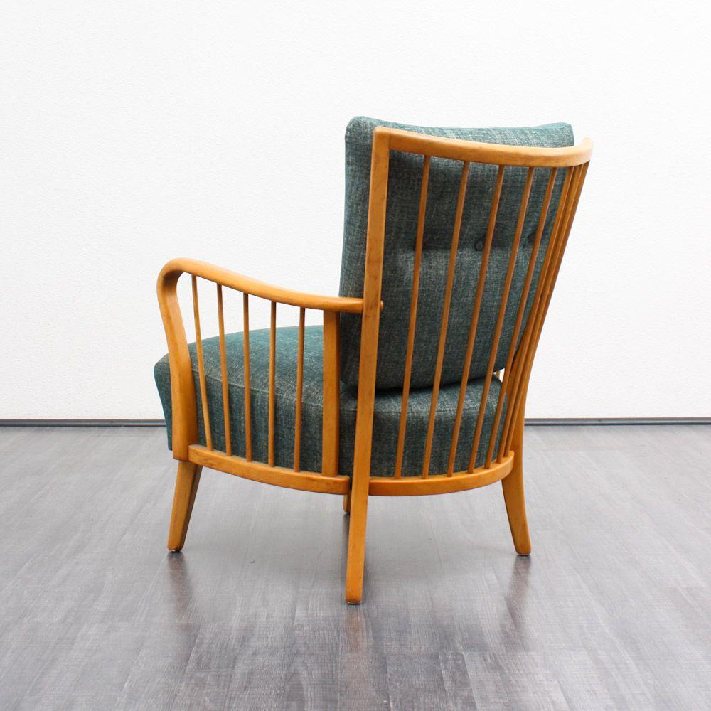 50er Jahre Sessel, Petrolgrün, neu gepolstert   Mid century