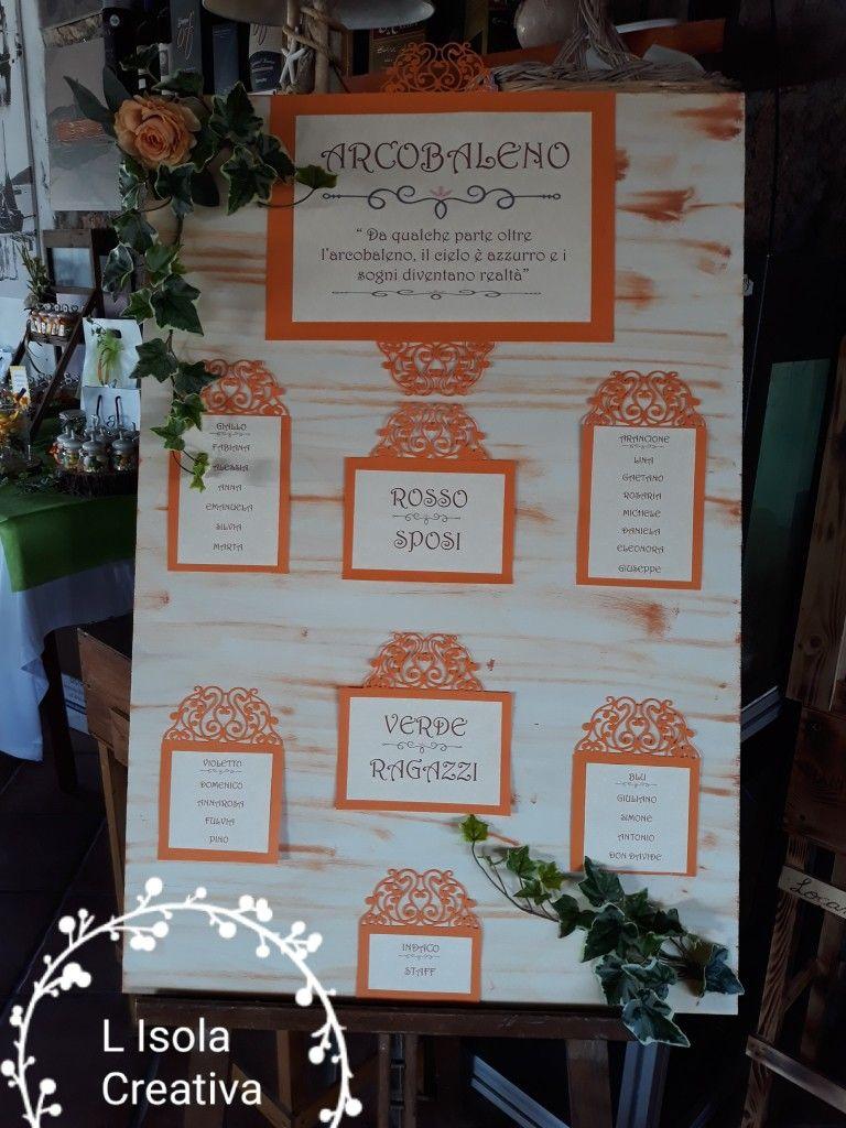 Tableau Matrimonio Tema Diamanti : Tableau marriage wedding#arancio#tema arcobaleno fatto a mano