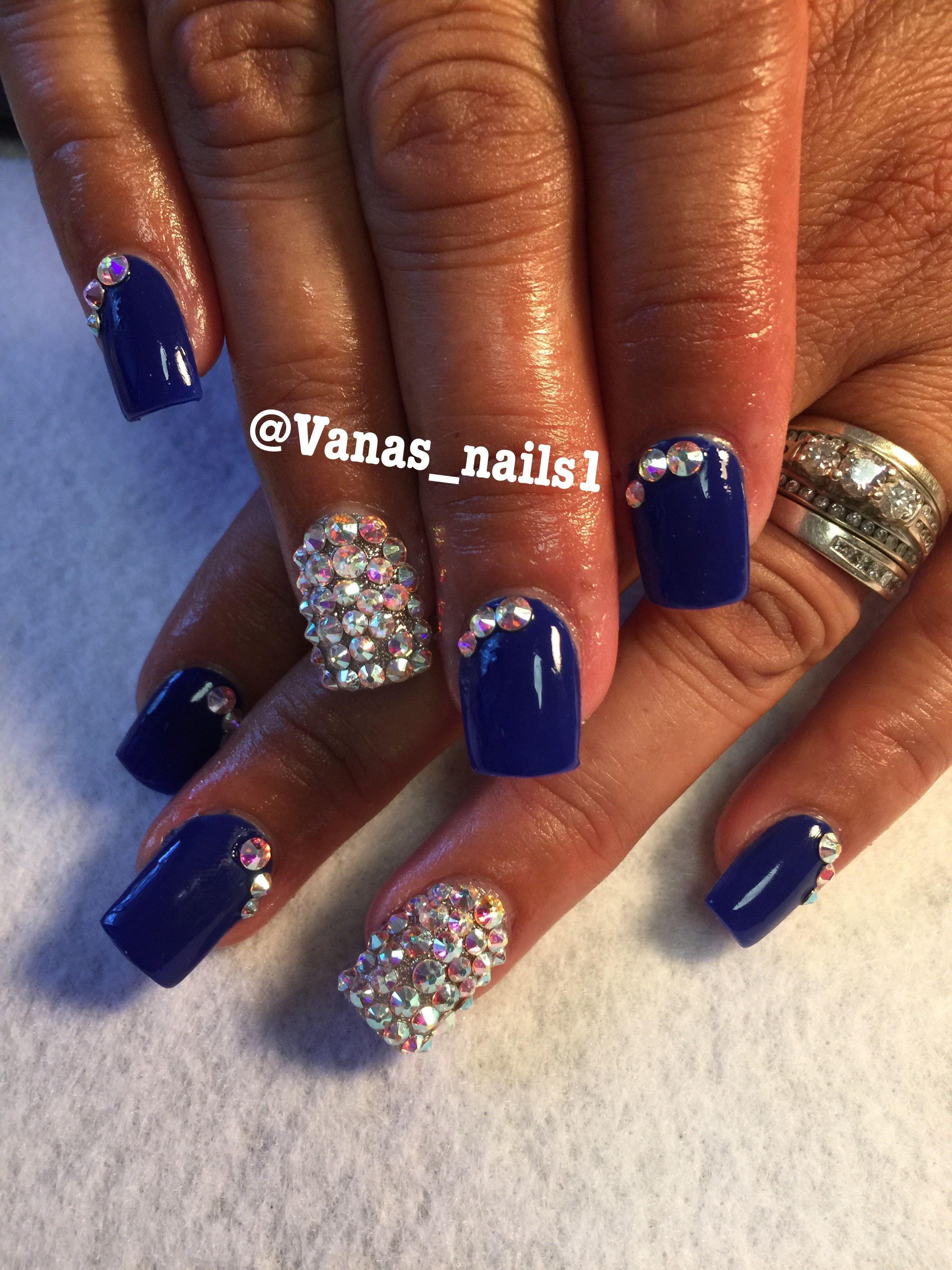 Royal blue acrylic nails Uñas acrílicas azul rey | Vana\'s nails ...