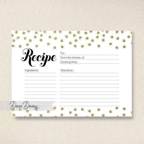 Glitter Confetti Recipe Card Bridal Shower Printable Instant C066 By