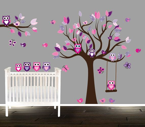 Fl Pink And Purple Owl Wall Decal Nursery Tree Decals For