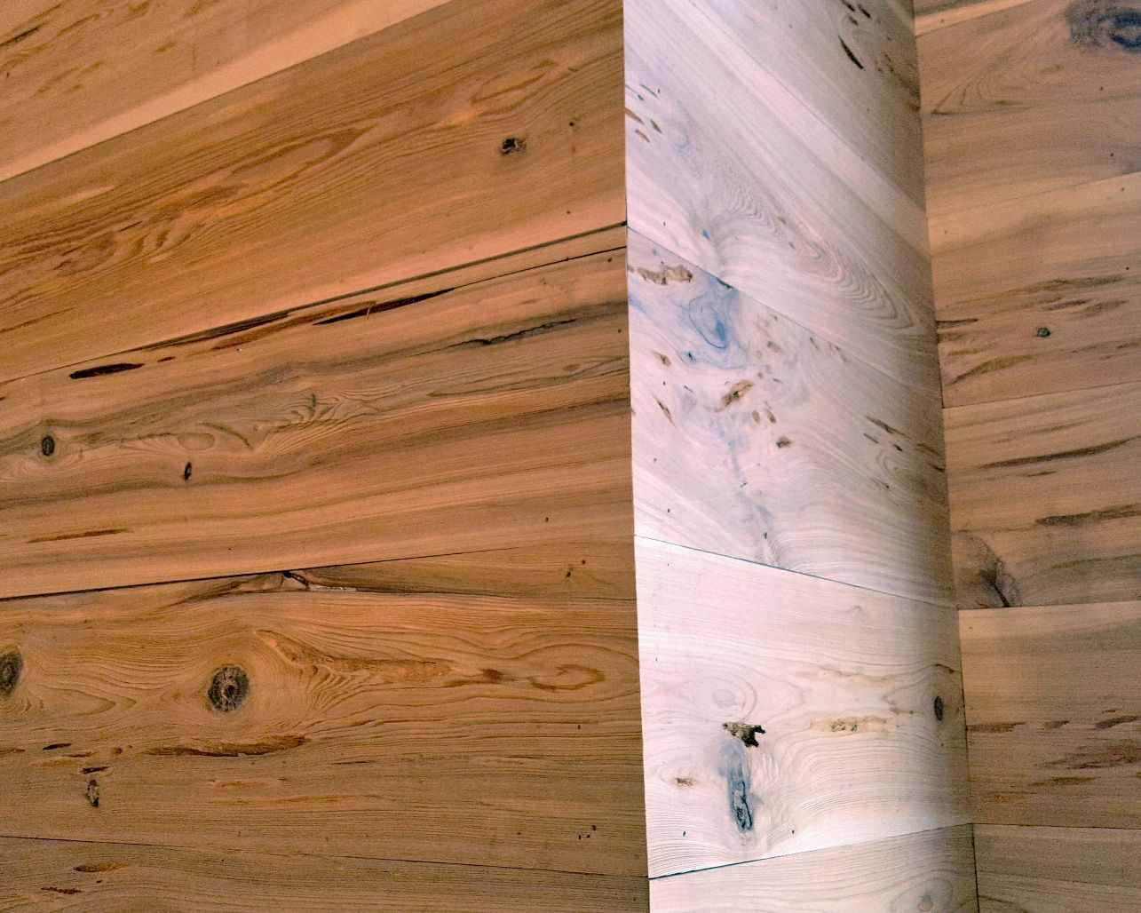 Pecky Cypress Wall Cladding : Pecky cypress wall paneling shiplap edges mitered
