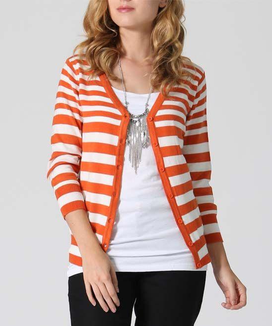 Dark Orange Stripe Cardigan | Striped cardigan and Products
