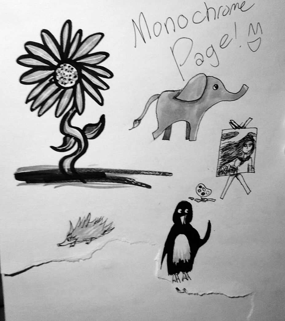 Random page of black and white doodles from school today!