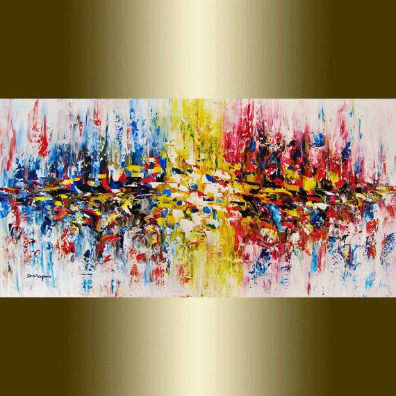 large original abstract painting  palette knife oil painting painting, a perfect wall decor, Free Shipping to US