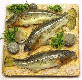 1:12th scale miniature fresh fish on cutting board display