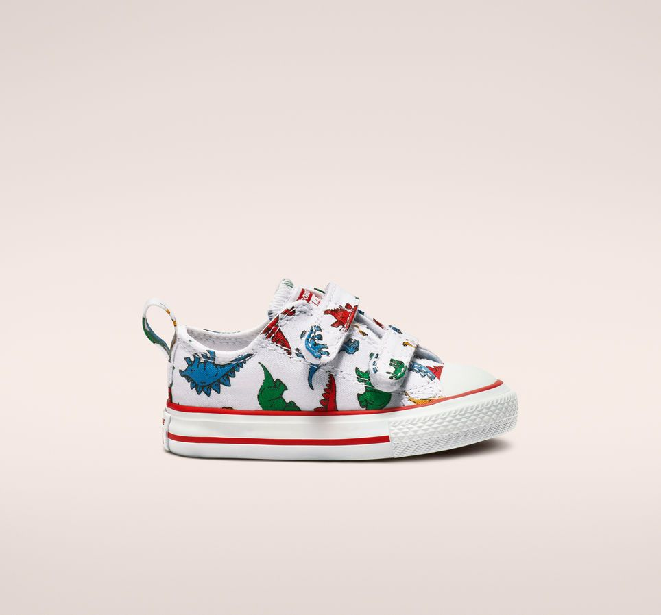 e6d57c7ae8d Chuck Taylor All Star Hook and Loop Dinoverse Low Top White/Enamel Red/Totally  Blue