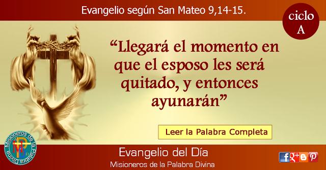 MISIONEROS DE LA PALABRA DIVINA: EVANGELIO - SAN MATEO  9,14-15