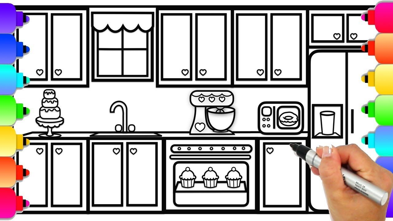 How To Draw A Kitchen For Kids Step By Step Easy Kitchen