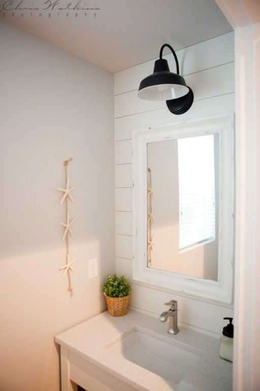 Barn Wall Sconce Lends Farmhouse Look To Powder Room