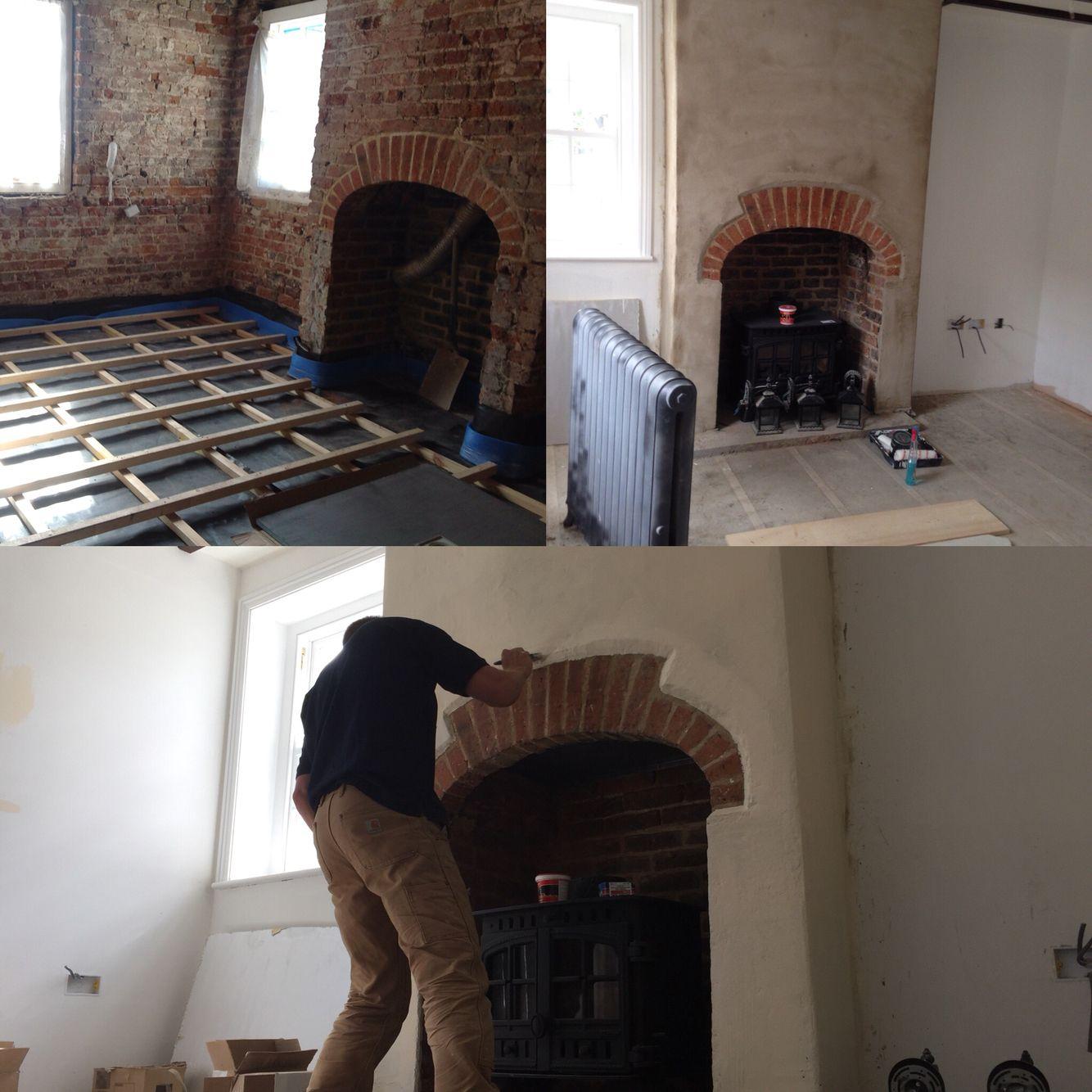 https://instagram.com/p/BKqkNTDh6YQ/  Rendering fireplace leaving brick detail. Next job flooring..
