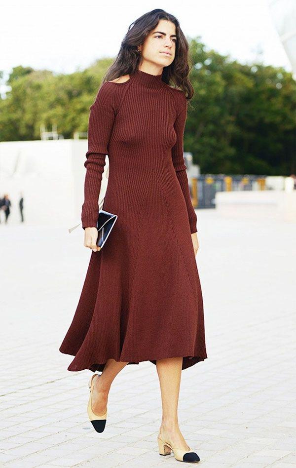 leandra medine turtleneck dress cut out street style