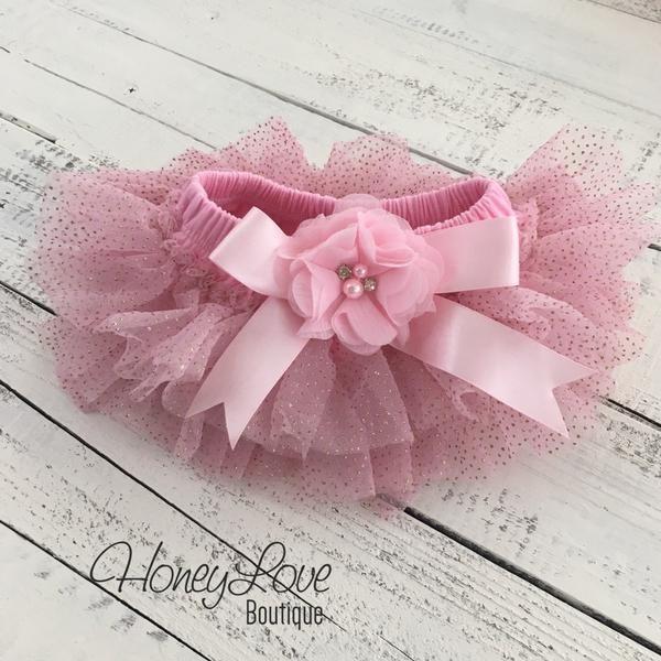 d9d949d47a Pink gold glitter ruffle tutu skirt bloomers, diaper cover, embellished  flower rhinestone pearl ruffle bottom bloomer, newborn infant toddler baby  girl take ...