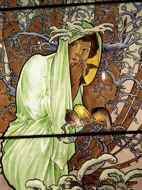 Detail, The Four Seasons, c. 1907 - 08, Alphonse Mucha. The Smith Museum of Stained Glass Windows, Chicago.