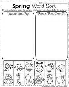 Spring worksheet for kids Spring coloring pages