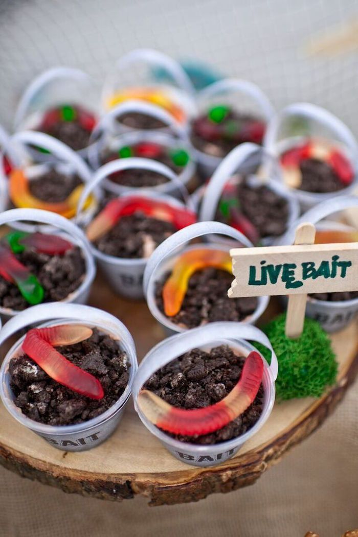 """""""Live Bait"""" Dessert Cups from a Gone Fishing Birthday Party via Kara's Party Ideas 