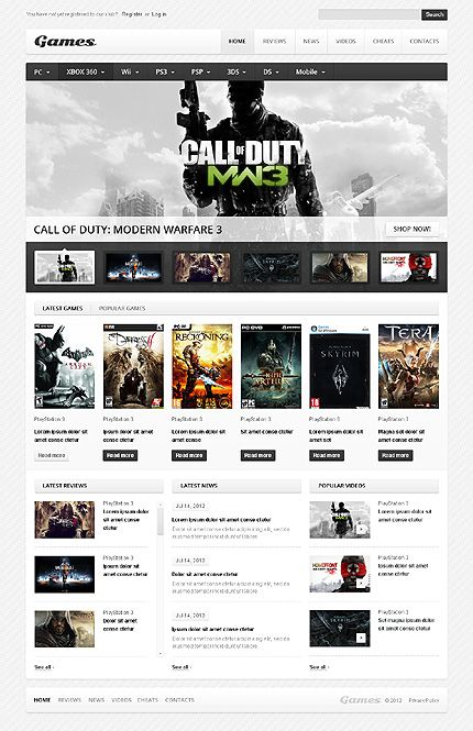 Call of Duty Video Game Review Website Theme Video game websites