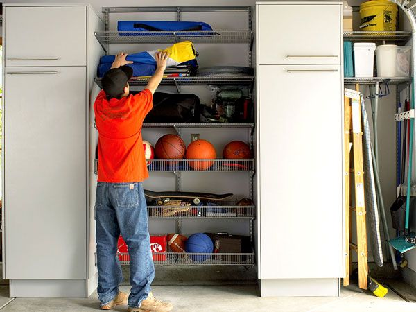 sports equipment organizer for garage using parts of an elfa modular system this storage wall 8194