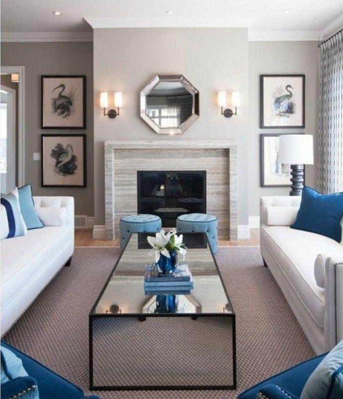 superbe deco salon gris et blanc, couelur mur salon gris, tapis gris ...