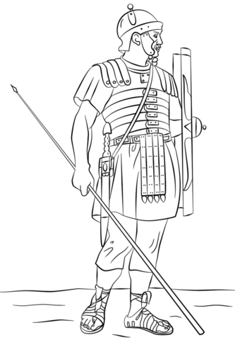 roman legionary soldier coloring page from ancient rome and roman empire