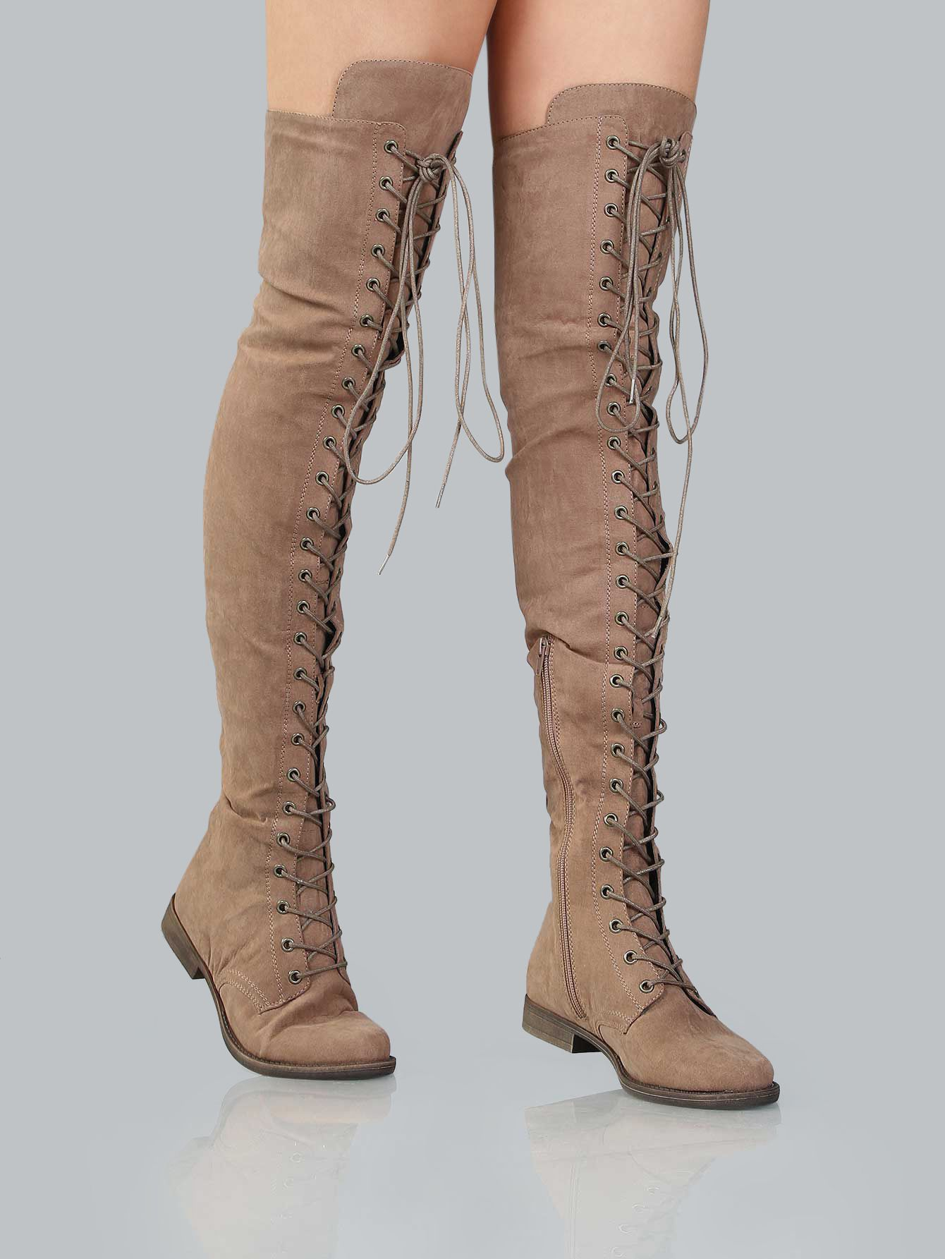 Bottes Taupe Plates En Daim Avec Lacet French Shein Sheinside Bottes Bottes Taupe Chaussure Mode