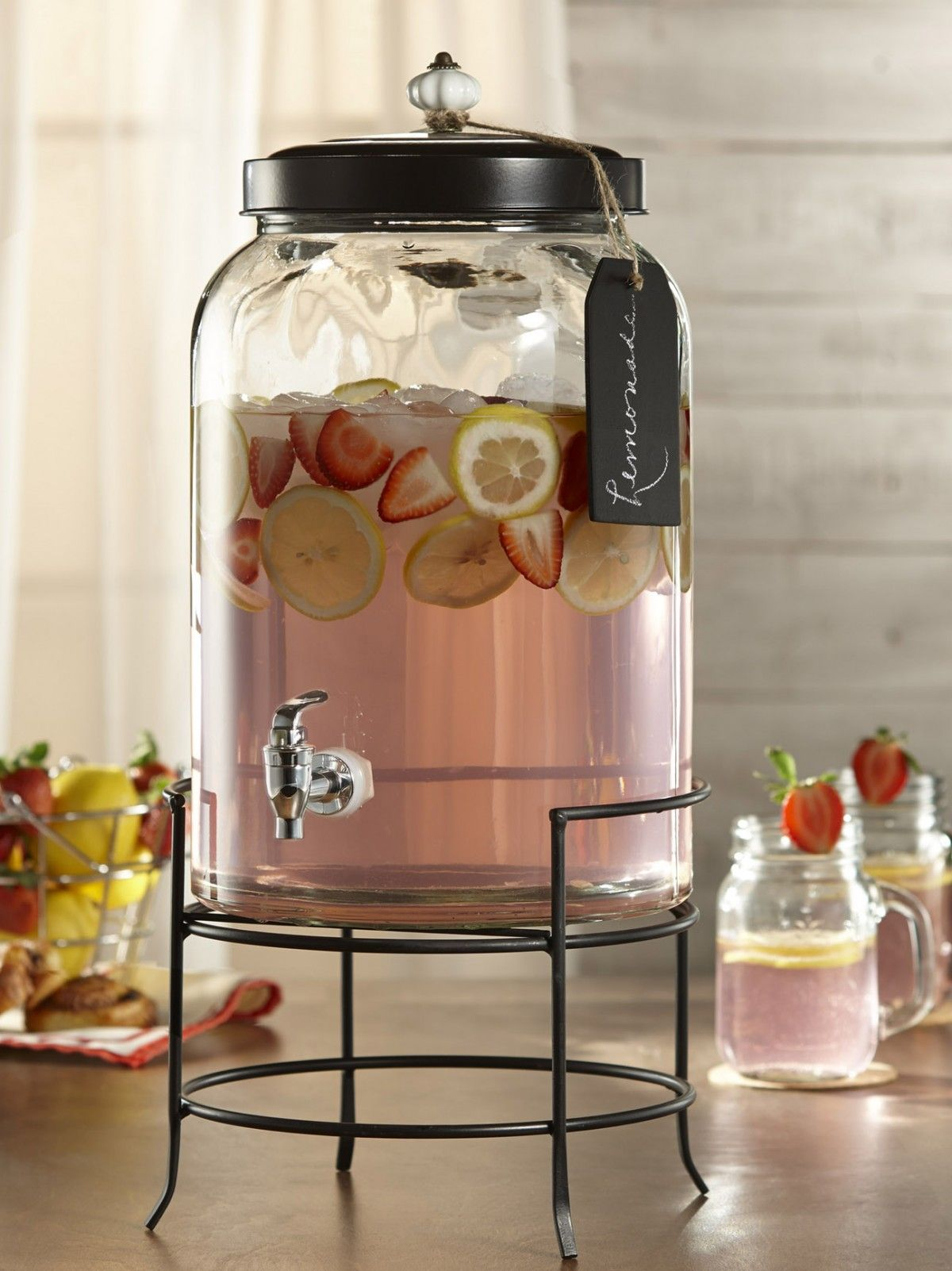 Thick Glass Double Beverage Dispenser With Spigots Lids On Metal Wire Stand Elegant Party Centerpiece 1 Gallon Each Drink Dispenser Wine Drinks Wine Barrel