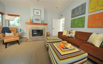 Mid century  Colorful Eclectic Living Rooms | Colorful Family Room - eclectic - family room - los angeles - by Susan ...