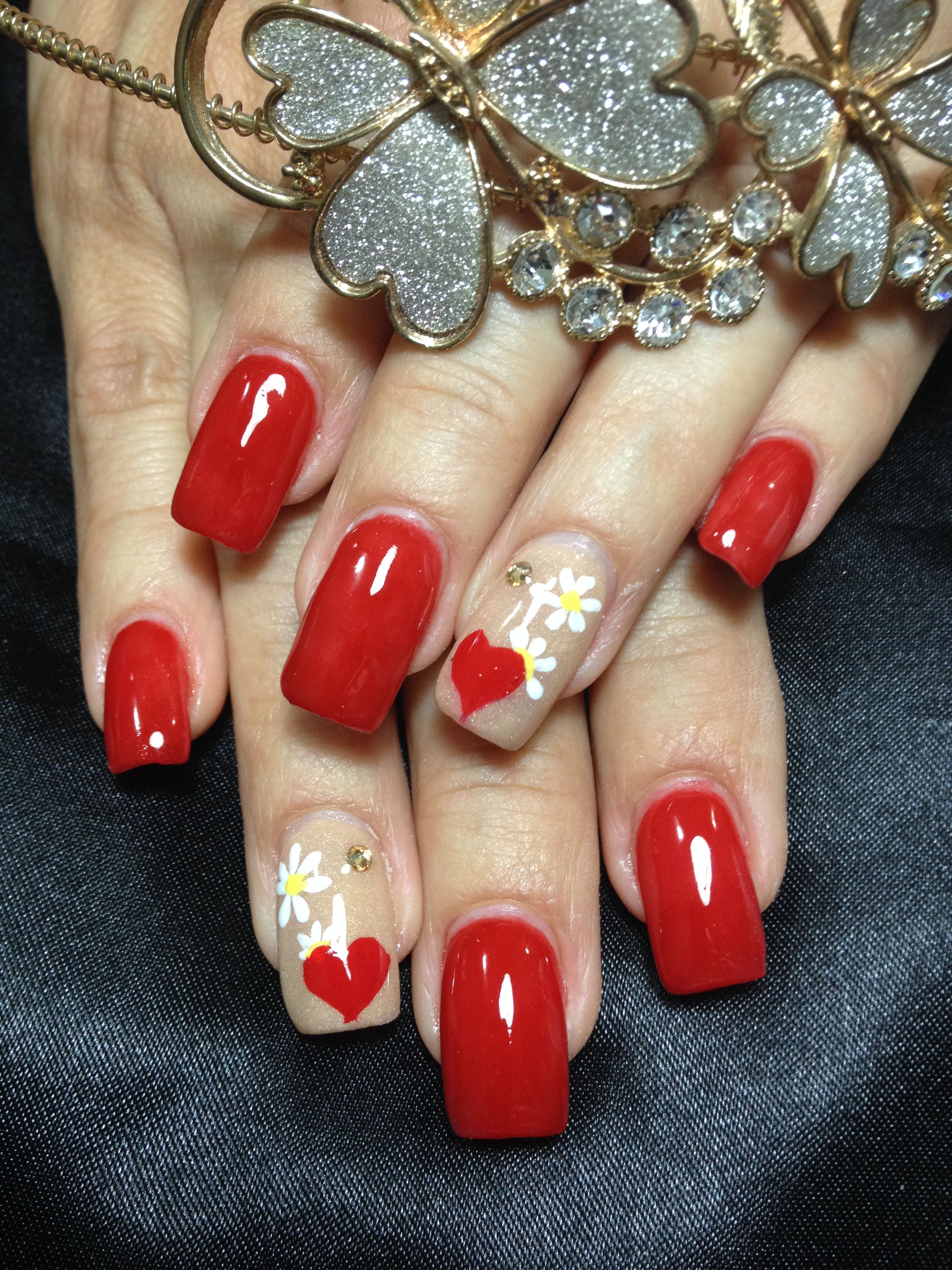 Red nice art color ! Acrylic Nail design . | Nails | Pinterest ...