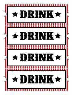 printable drink tickets | Birthdays | Pinterest | Free printables ...