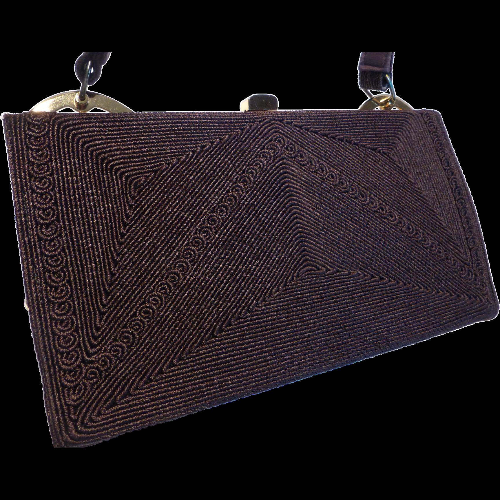 Vintage 1940 S Brown Corde Handbag Purse