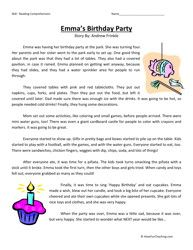 Fourth Grade Reading Comprehension Worksheet Emmas Birthday Party
