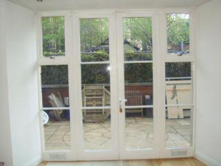 Hardwood Painted White Double Glazed French Doors With 2 Framed