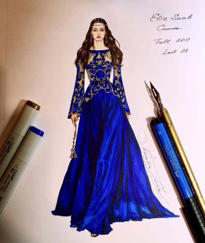 Nataliazorinliu Fashion Illustration Blue Dress Gold