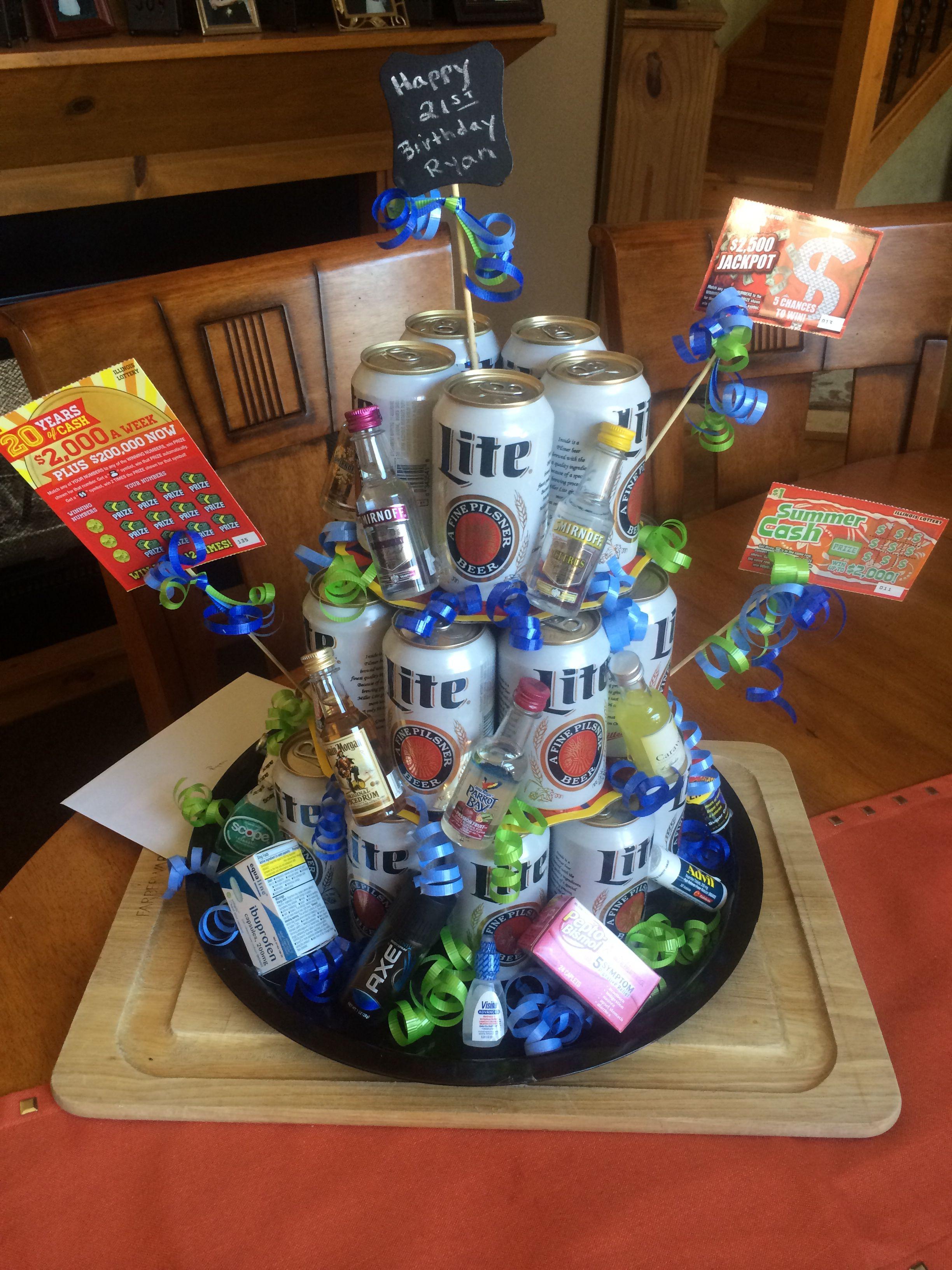 21st Birthday Gift Beer Cake Tower Birthday Present Diy