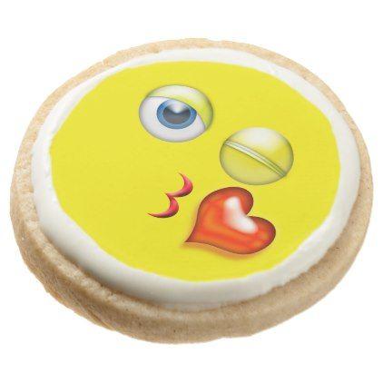 Wink Kiss Emoji Birthday Party Round Shortbread Cookie