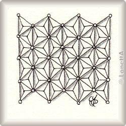 Zentangle-Pattern 'Wunderwall' by Sandy Hunter CZT, presented by www.ElaToRium.de