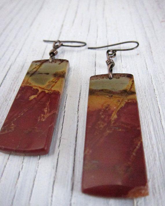 RED BRICK CANYONRustic Jasper Slab Earrings  by SusanHeleneDesigns, $38.00