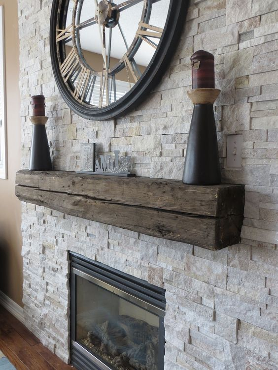 Beautiful Stone Veneer Surround For Gas Fireplace With Rustic Wood