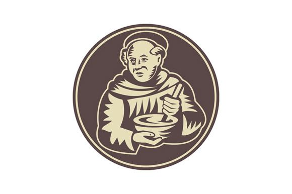 Friar Monk Cook Mixing Bowl Wood  @creativework247