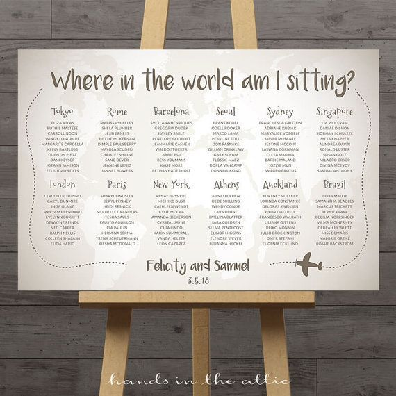 World Map Wedding Seating Chart Travel Theme City Destination Table Ignment Decoration Flags Names Large Plan Diy Digital