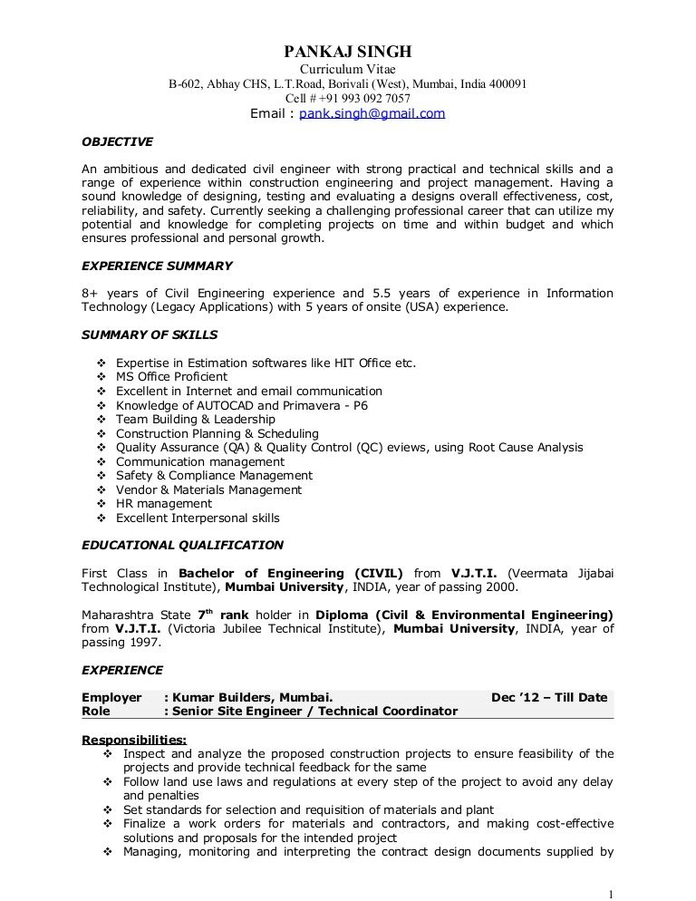 Resume For Construction Project Manager in 2020 Project