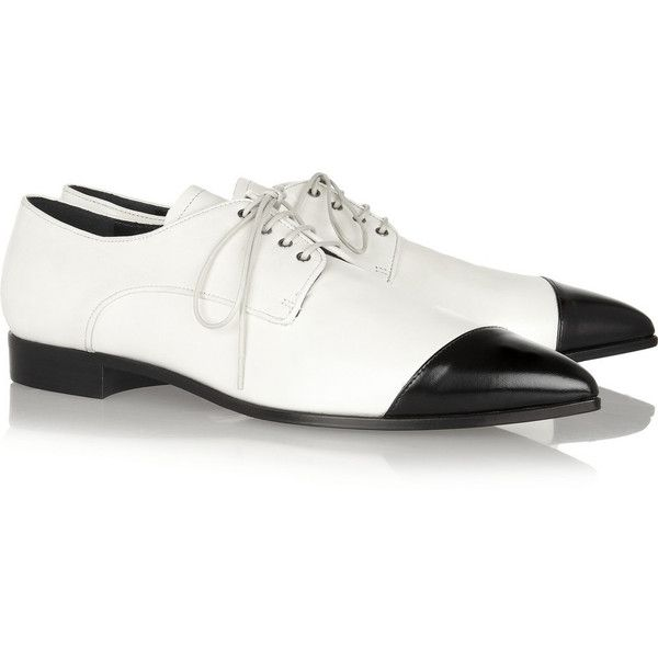 Miu Miu Two-tone pointed leather brogues found on Polyvore   Top ... df915d7ea5