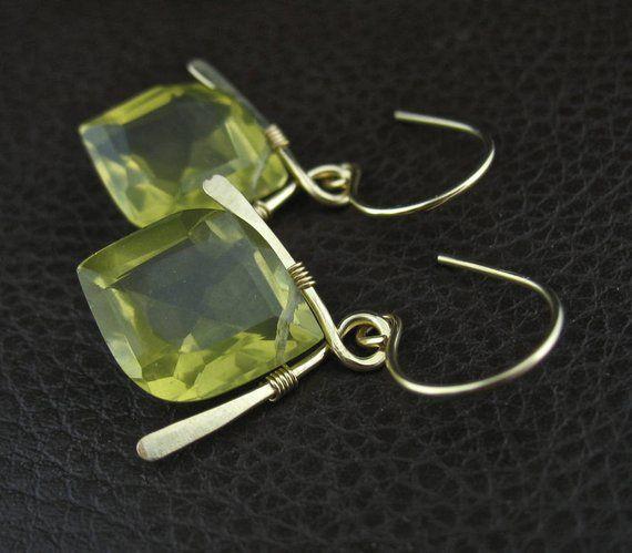 Photo of Lemon Yellow Quartz Wired Stone Earrings, Handmade Wrapped Stone Jewelry, Rare Stone Earrings, Yellow Gold Jewelry