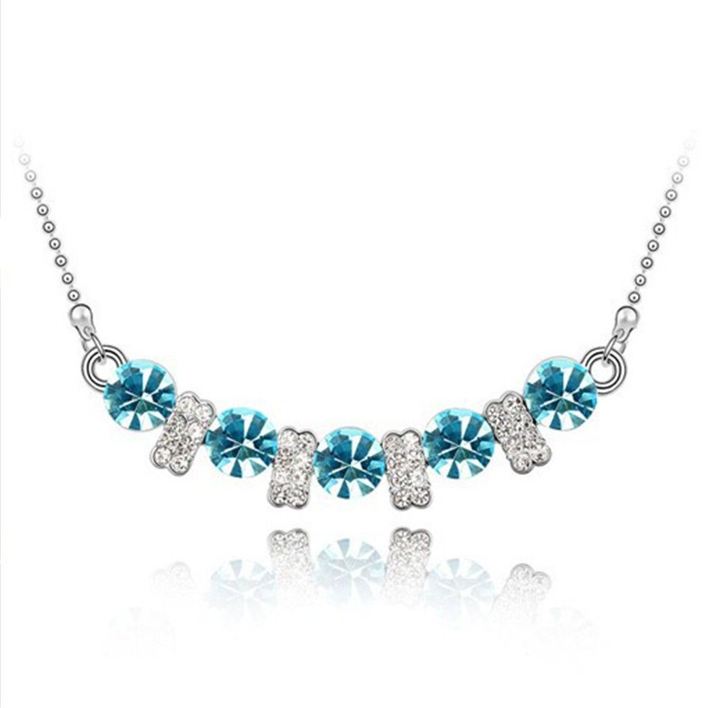 Fashion jewelry crystal white gold plated aquamarine pendant