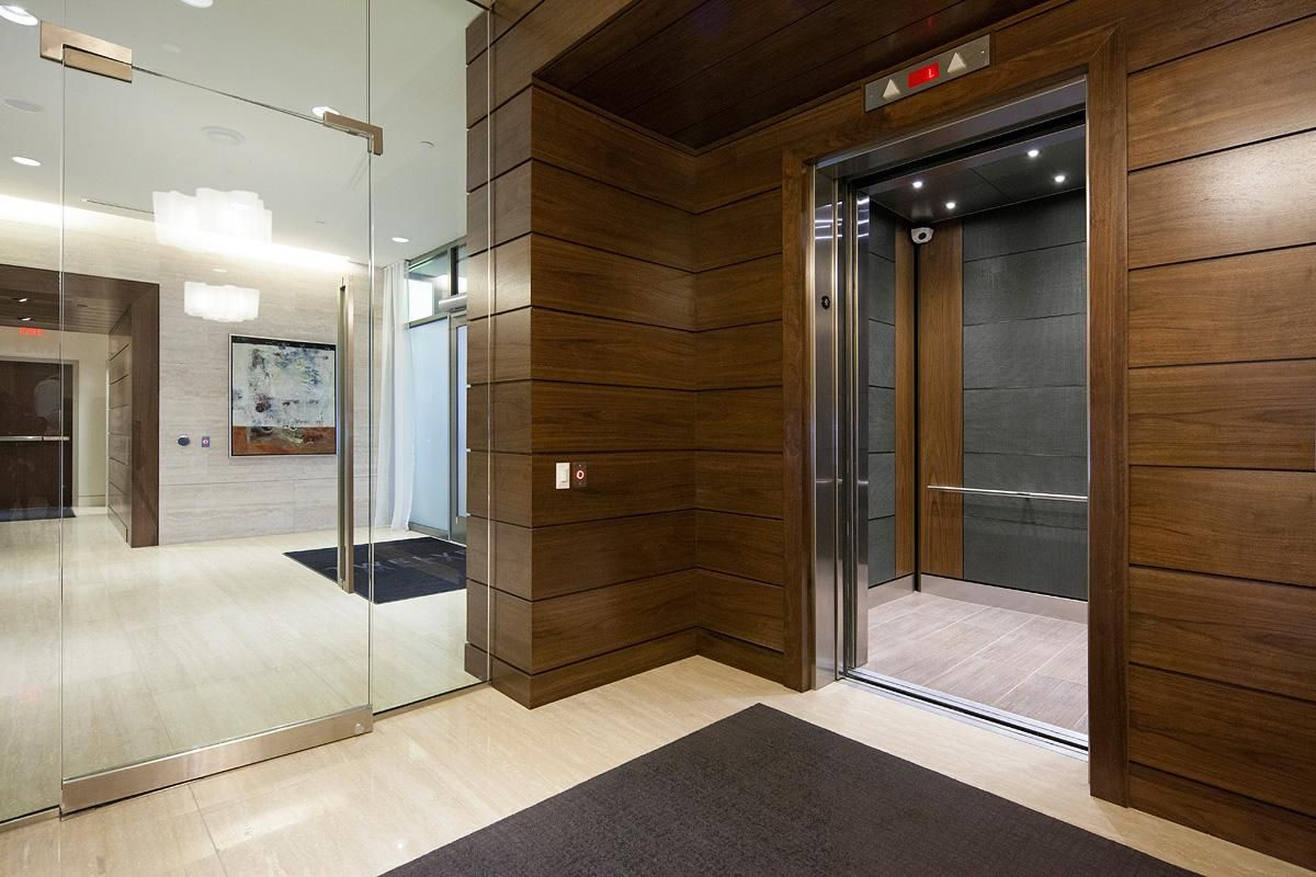 Dark brown wood veneer dark brown wood veneer google search - Elevator Interior With Customized Panel Layout Capture Panels In Bonded Aluminum With Dark Patina And Charleston Pattern And American Walnut Wood Veneer