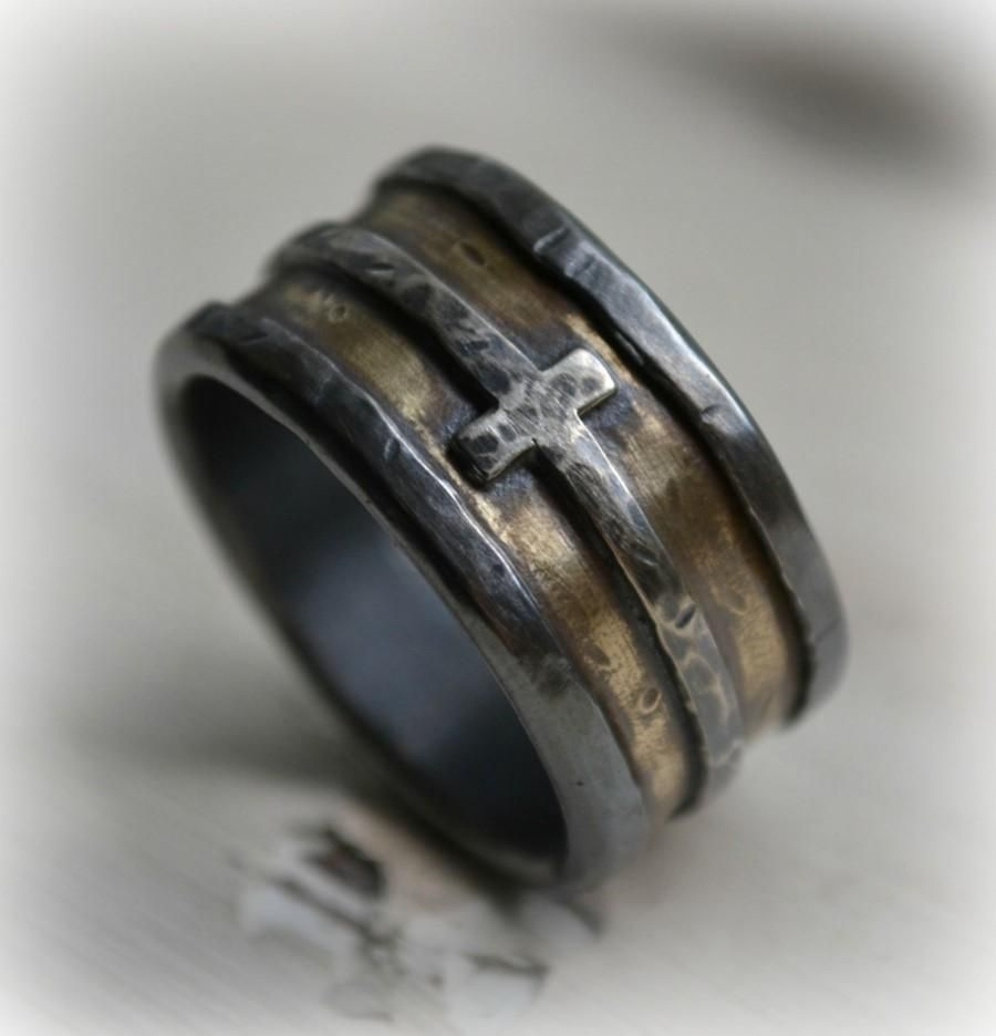 Mens Wedding Band Rustic Fine Silver Br And Sterling Cross Handmade Designed