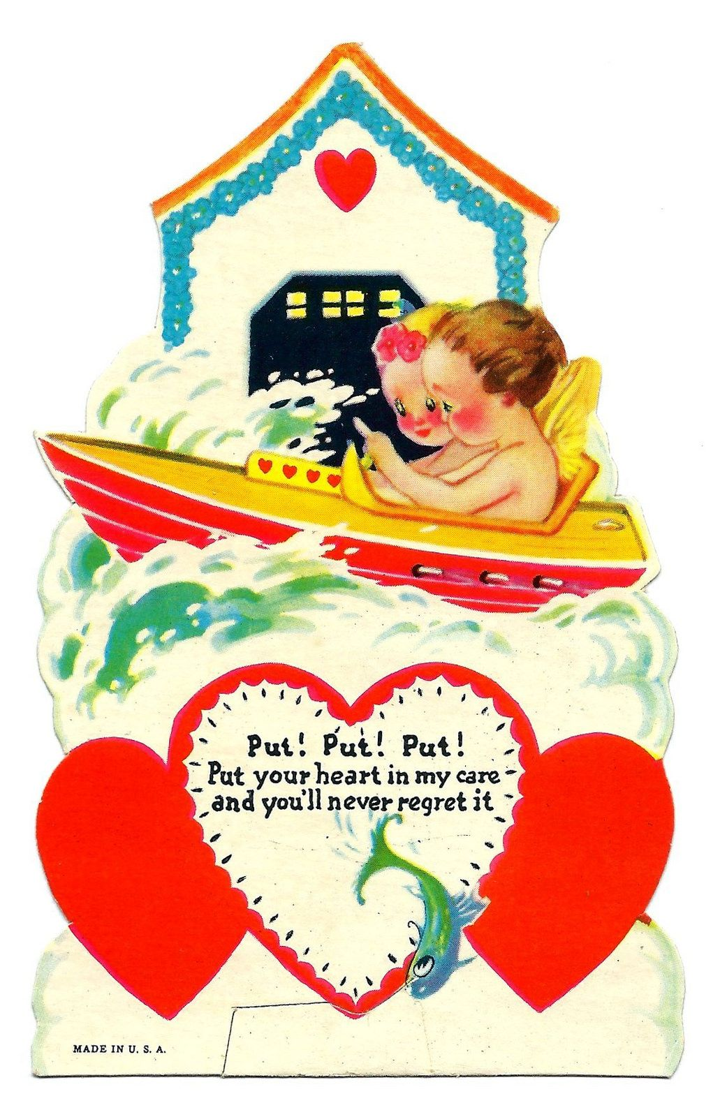 https://flic.kr/p/C5XVJ5   Vintage Valentine Day Greeting Card - Put! Put! Put! Put Your Heart In My Care And You'll Never Regret It, Made In USA, Circa 1940